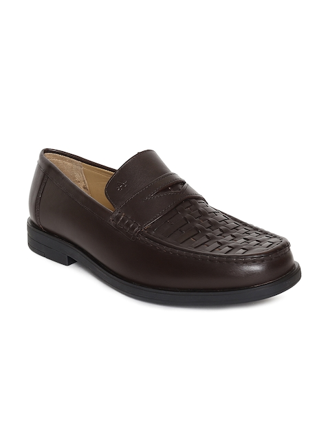 Arrow Men Brown Textured Leather Willy Formal Loafers