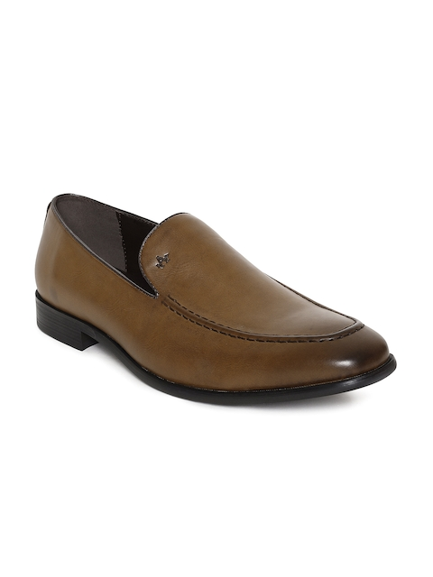 Arrow Men Brown Solid Leather Adam Formal Loafers