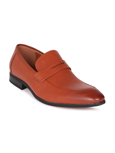 Arrow Men Tan Brown Leo Formal Leather Slip-On Shoes