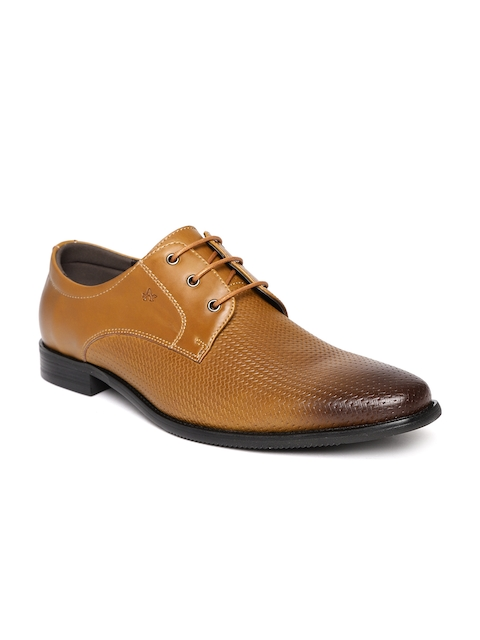 Arrow Men Tan Brown Leather Basketweave Texture Semiformal Derbys