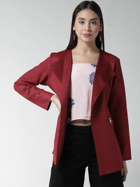 Fort Collins Women Maroon Self Design Open Front Jacket