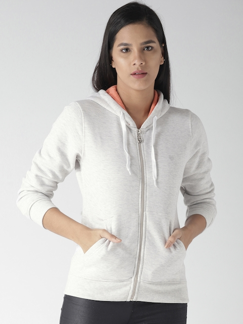 Fort Collins Women Off-White Solid Hooded Sweatshirt