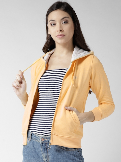 Fort Collins Women Yellow Solid Hooded Sweatshirt