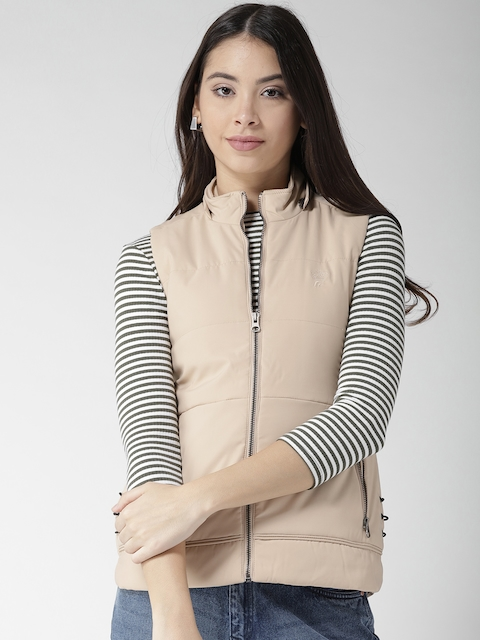 Fort Collins Women Beige Solid Padded Jacket