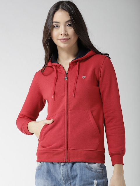 Fort Collins Women Red Solid Hooded Sweatshirt