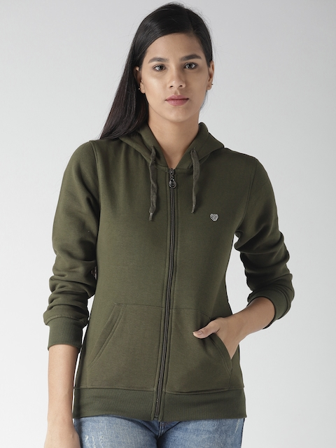 Fort Collins Women Olive Green Solid Hooded Sweatshirt