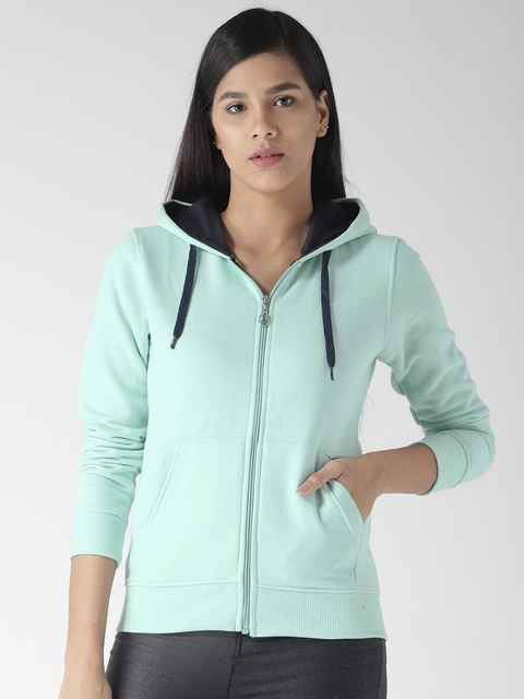 Fort Collins Women Sea Green Solid Hooded Sweatshirt