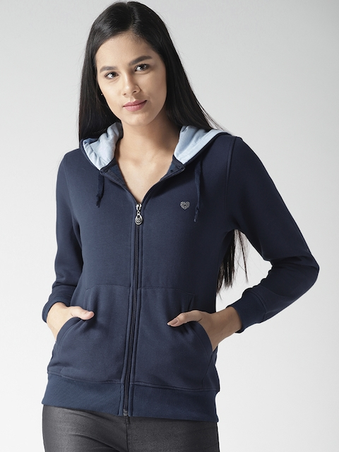 Fort Collins Women Navy Solid Hooded Sweatshirt