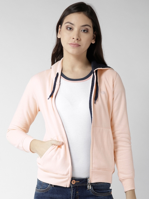 Fort Collins Women Peach-Coloured Solid Hooded Sweatshirt