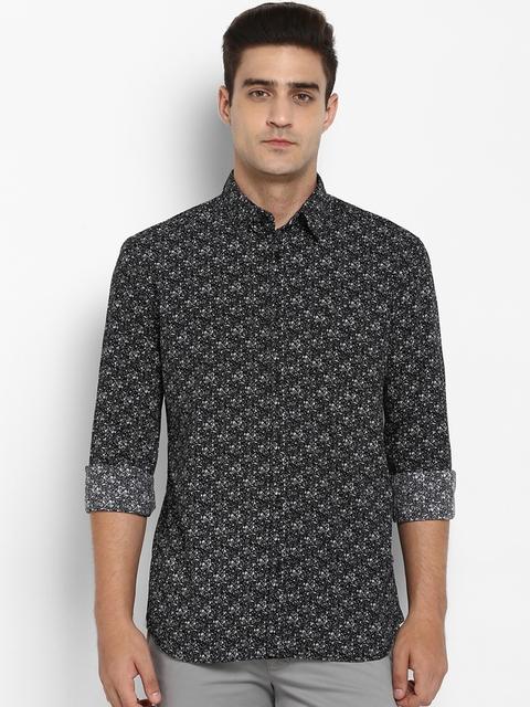 Parx Men Black Slim Fit Printed Casual Shirt