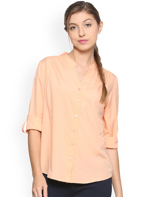 Allen Solly Woman Peach-Coloured Regular Fit Solid Casual Shirt