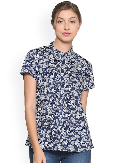 Allen Solly Woman Blue & White Regular Fit Printed Casual Shirt