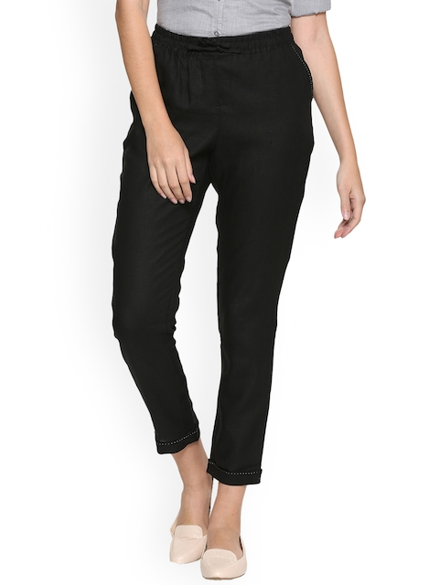 Allen Solly Woman Black Regular Fit Solid Regular Trousers