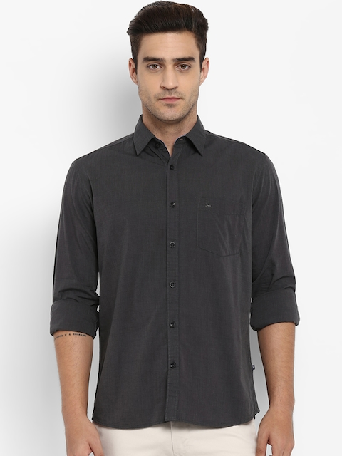 Parx Men Charcoal Grey Slim Fit Solid Casual Shirt