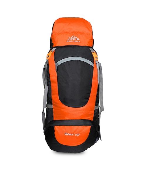 MOUNT TRACK Gear Up Orange & Black Colourblocked Hiking Rucksack