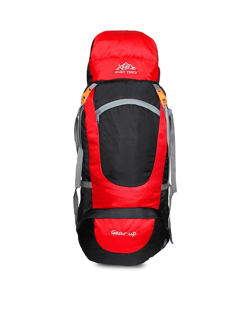 MOUNT TRACK Gear Up Red & Black Colourblocked Hiking Rucksack