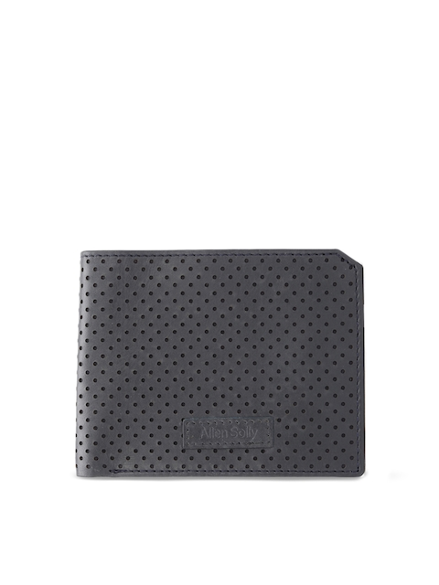 Allen Solly Men Charcoal Grey Textured Two Fold Wallet