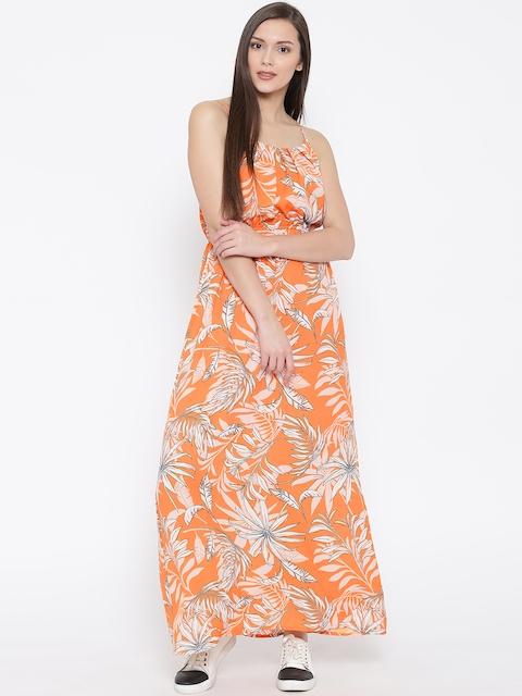 Vero Moda Orange Printed Maxi Dress