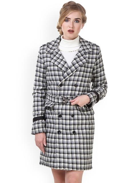 Texco Women Black & White Checked Trench Coat
