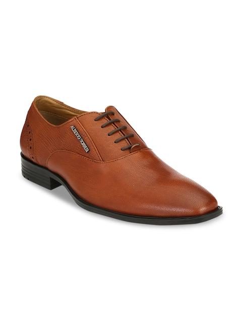 Alberto Torresi Men Tan Leather Formal Oxfords