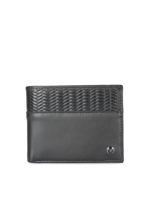 Van Heusen Men Black Self Design Leather Two Fold Wallet