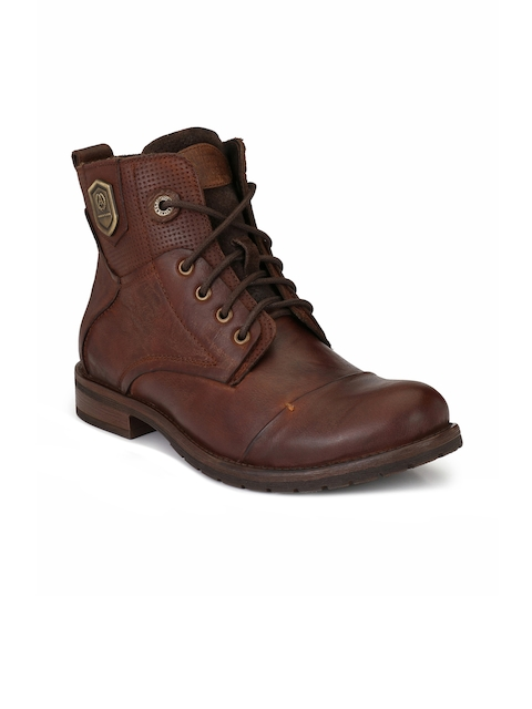 Alberto Torresi Men Brown Textured Leather High-Top Flat Boots