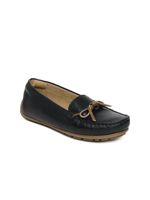 Clarks Women Navy Blue Dameo Swing Leather Loafers