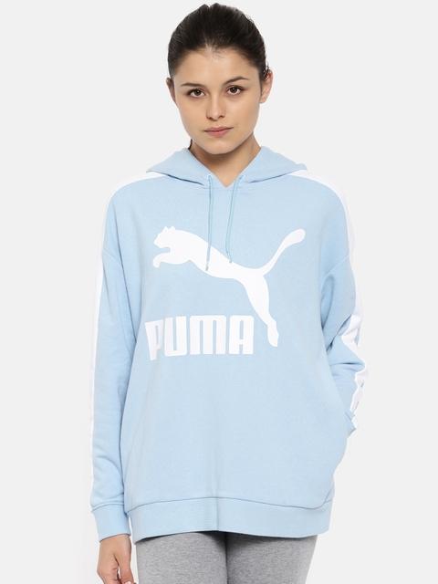 Puma Women Blue Classics Logo T7 Printed Hoody Sweatshirt
