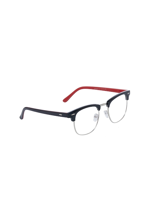 VAST Unisex Black Solid Full Rim Browline Frames AntiGlare_CM_RED_SHADED_CLEAR