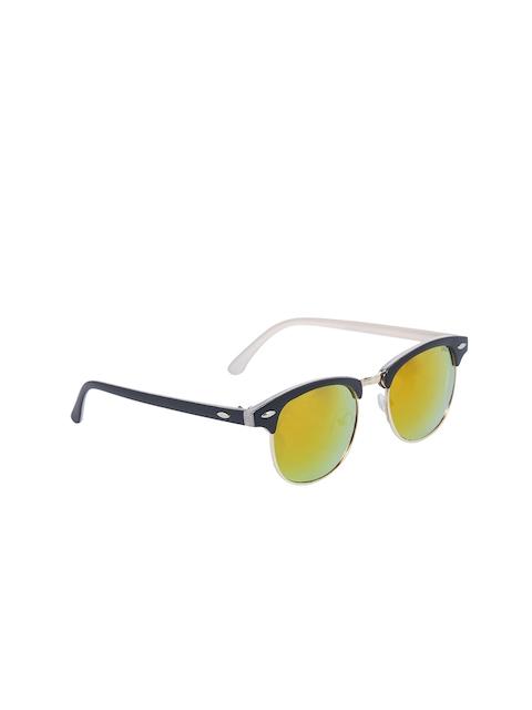 VAST Unisex Browline Mirrored Sunglasses CM_GOLD_PINK_MIRROR_INSIDE_WHITE
