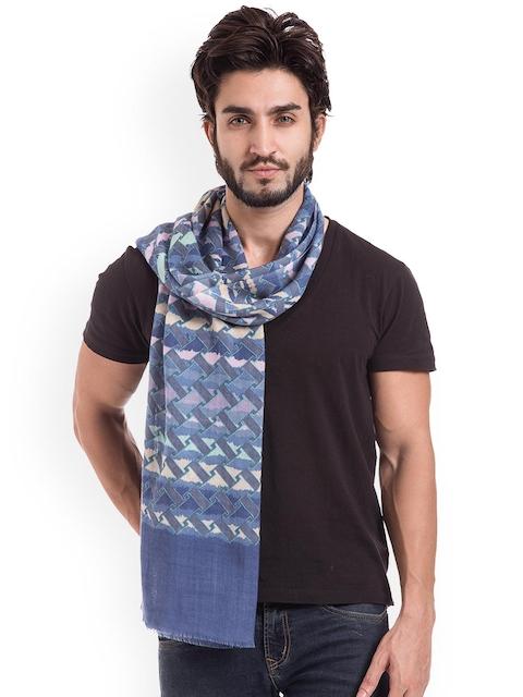 SHINGORA Men Blue Printed Woollen Muffler