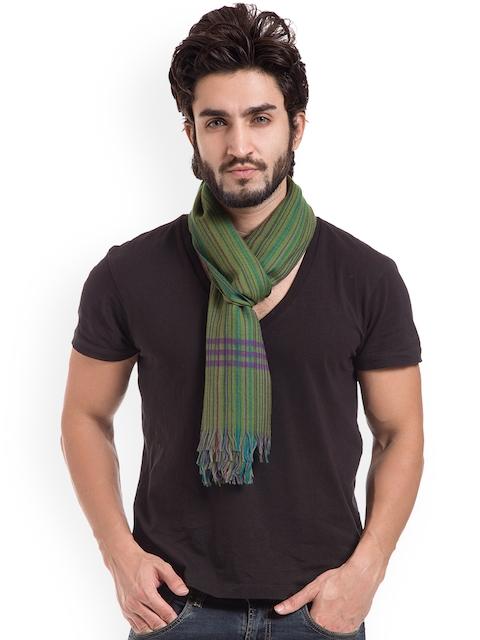 SHINGORA Mens Green Striped Muffler