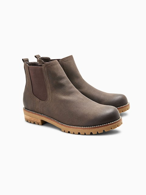next Women Brown Solid Patent Leather Mid-Top Flat Boots