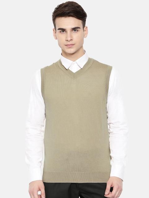 Raymond Men Beige Solid Wool Sweater Vest