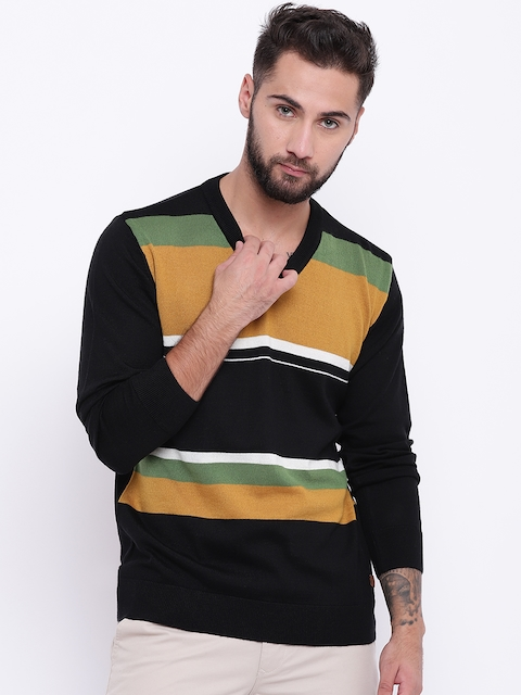 Raymond Men Black & Mustard Yellow Striped Sweater