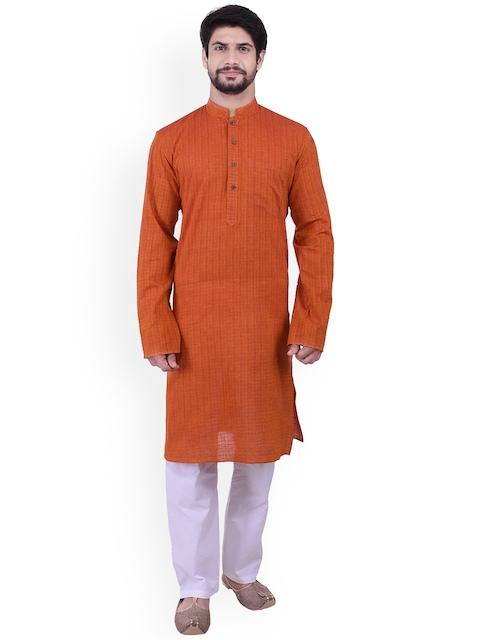 Manyavar Men Orange Striped Straight Kurta