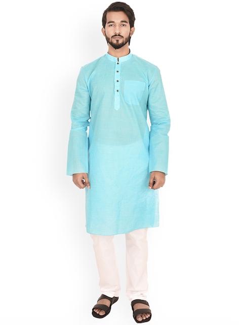 Manyavar Men Turquoise Blue Solid Straight Kurta