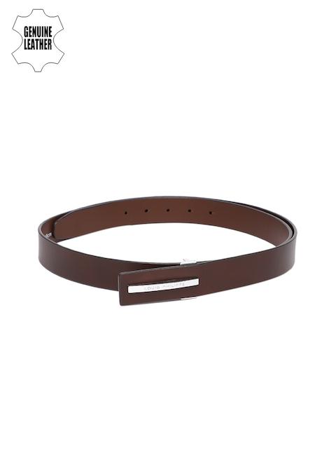 Louis Philippe Men Brown Solid Genuine Leather Belt