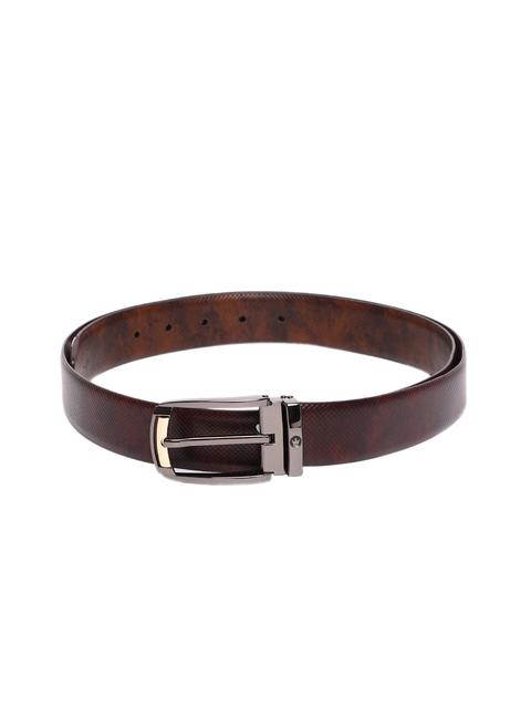 Louis Philippe Men Brown & Maroon Textured Reversible Belt