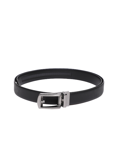Louis Philippe Men Black Textured Reversible Belt
