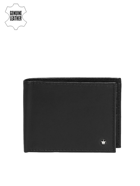 Louis Philippe Men Black Solid Two Fold Genuine Leather Wallet