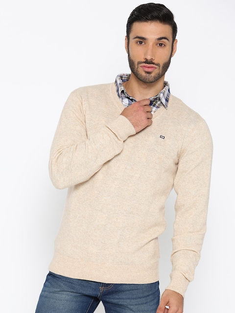 Arrow Sport Men Beige Solid Pullover