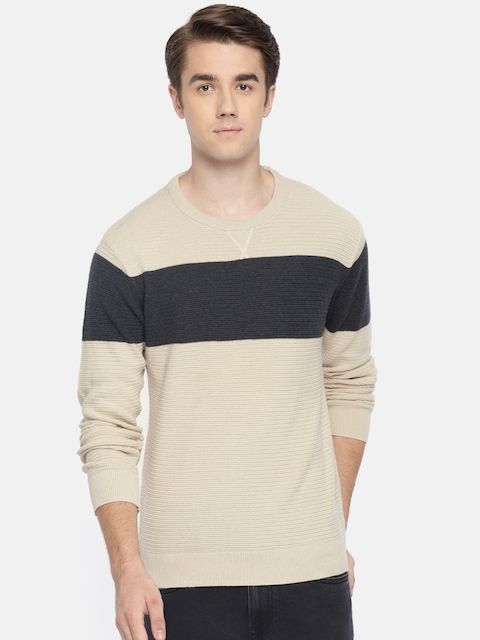 Arrow Sport Men Beige & Grey Colourblocked Pullover