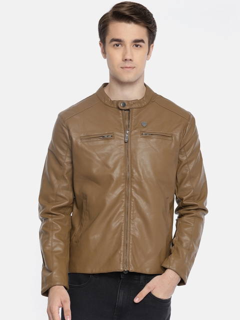 Arrow Sport Men Brown Solid Leather Jacket