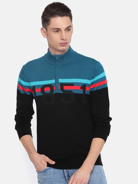 Arrow Sport Men Black & Blue Colourblocked Front-Open