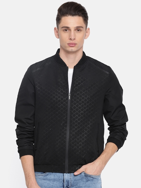 Arrow New York Men Black Self-Design Bomber