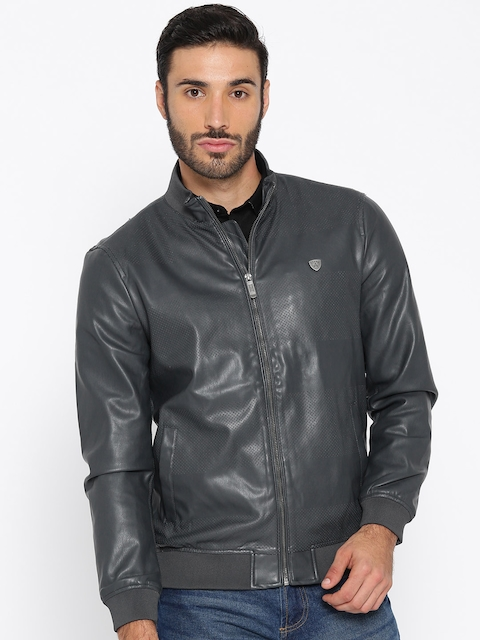 Arrow Sport Men Charcoal Grey Solid Faux Leather Biker Jacket