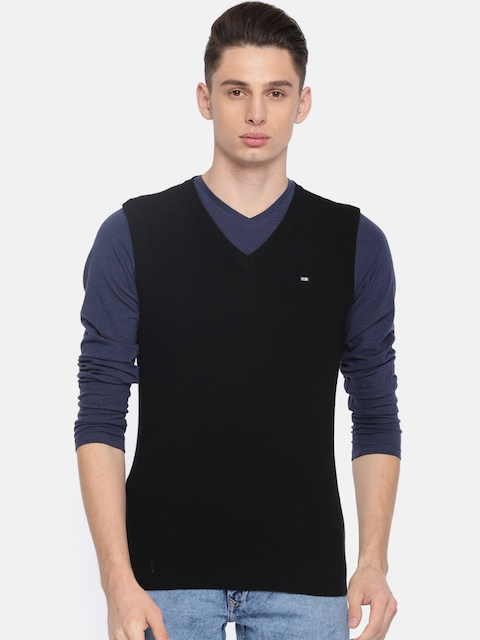 Arrow Sport Men Black Solid Woollen Sweater Vest