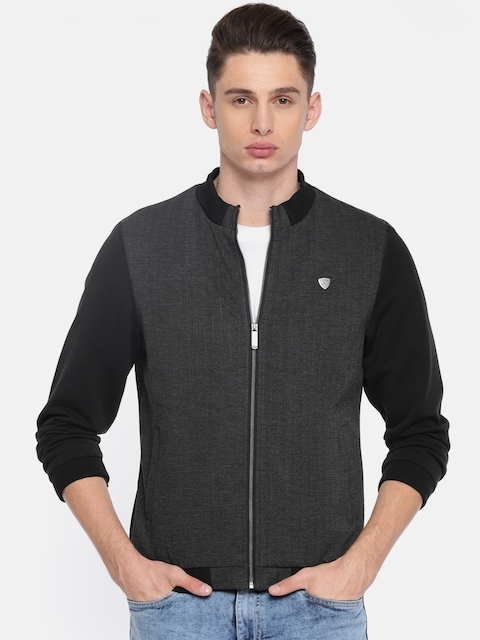 Arrow Sport Men Charcoal Grey Solid Bomber