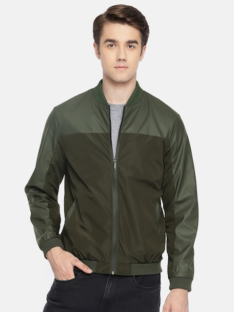 Arrow New York Men Olive Green Solid Bomber